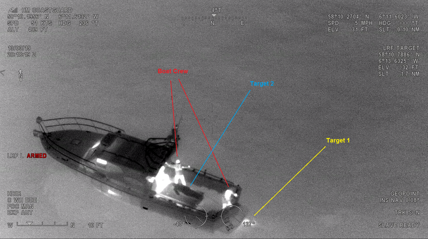 Screenshot from the aircraft's FLIR camera footage